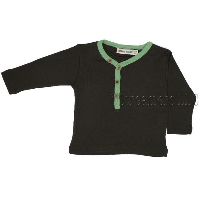 Baby Boy Clothes - Baby Boy Ribbed LS Shirt with Wooden Buttons and Green Trim on Chocolate Brown.  Made of Cotton and Modal.  Super Soft!  Available in Sizes 3, 6 and 9 months. by Oatmeal & Raisin