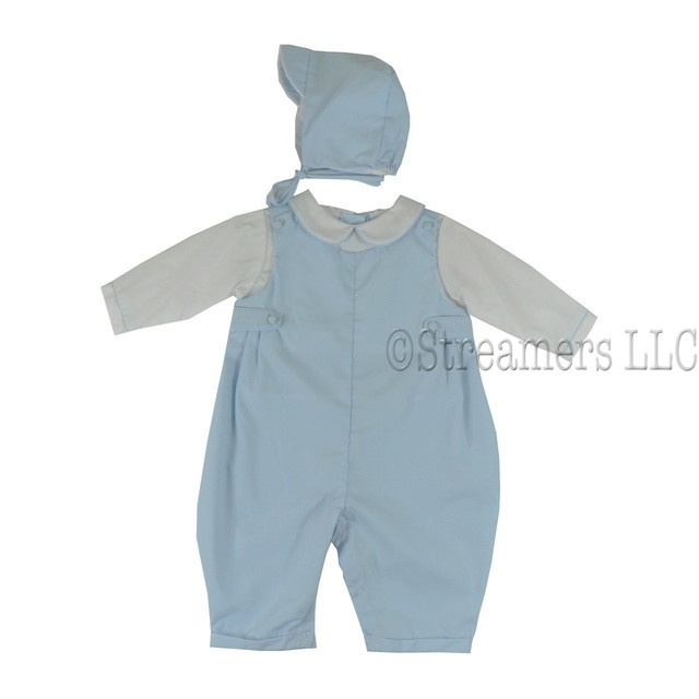 Petit Ami Sweet Baby Boy Longall in Blue with Faux White Shirt with Peter Pan Collar, Buttoned Tabs, Snap Legs with Cuffs, Three Buttons at Back and matching Hat.  by Petit Ami.  Available in Newborn