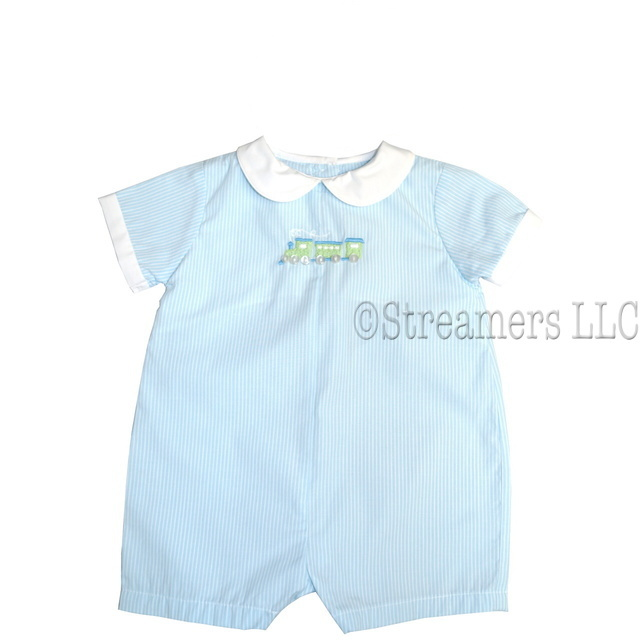 Adorable Baby Blue Striped Shortall with Peter Pan Collar, White Trimmed Sleeves and Train Embroidery (Lined at Chest).  Available in sizes 3, 6, and 9 Months.  Sweet!  See also in Preemie and Newborn