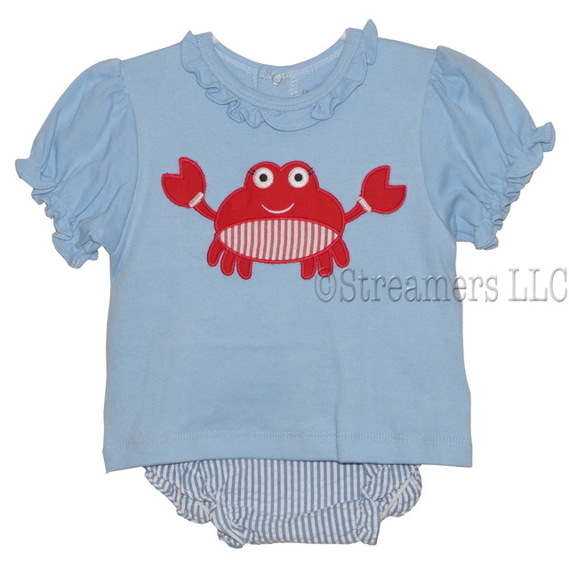 Adorable 3 piece diaper set with blue ruffled top (snaps in back) with seersucker diaper cover and red crab appliques on shirt and bum, includes sun hat!  So cute!  Available in sizes 6-12 months by Petit Ami