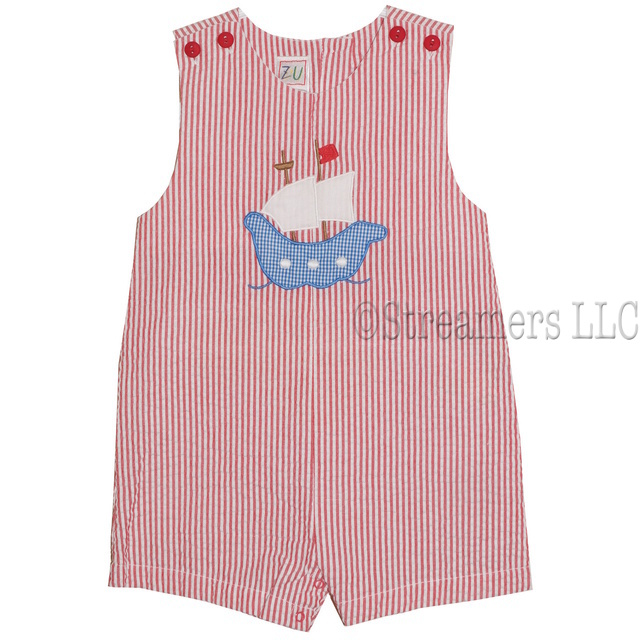 Adorable baby boy red seersucker sunsuit with ship applique; buttons at shoulders and snaps at legs.  Red, White and Blue for the 4th of July!  Available in sizes 3, 6 and 9 months (see also in Infant Boy and dresses for girls!) by Petit Ami