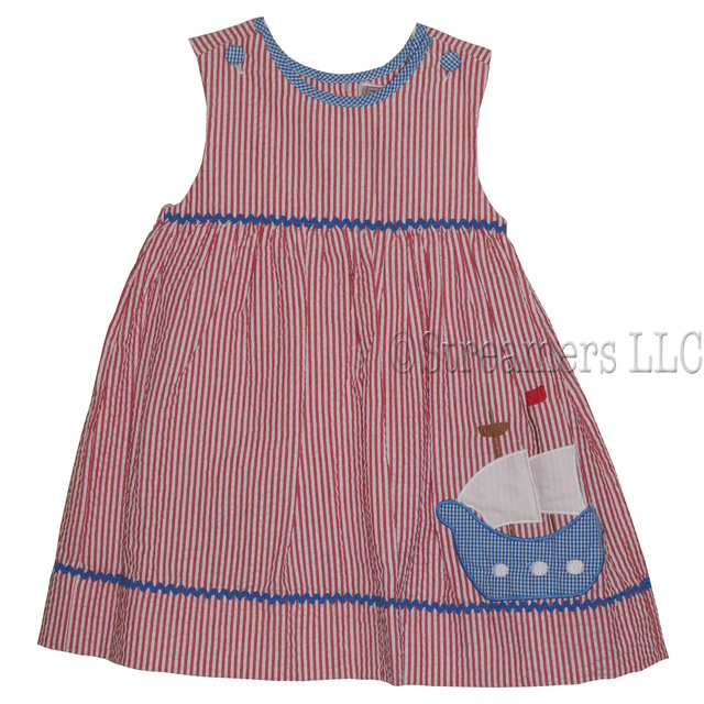 Darling red seersucker dress with blue ship applique, includes bloomer; works great for the 4th of July!  Available in sizes 2T, 3T and 4T. (see also in Infant Girl) by Zubels Petit Ami