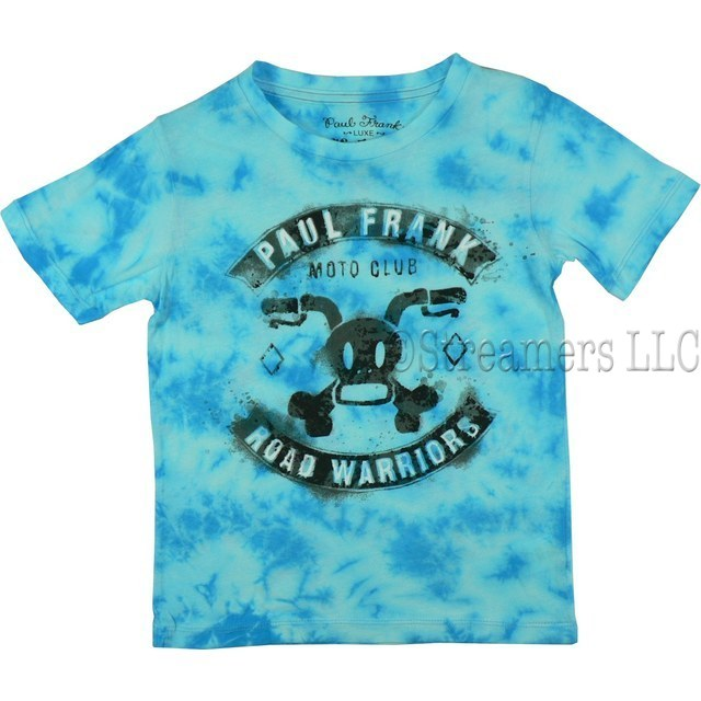 Paul Frank Luxe Boys T-Shirt with Moto Club Road Warriors Screen Print in Tie-Dye Turquoise Color.  Available in 4, 5/6, 7 and 7X (8)