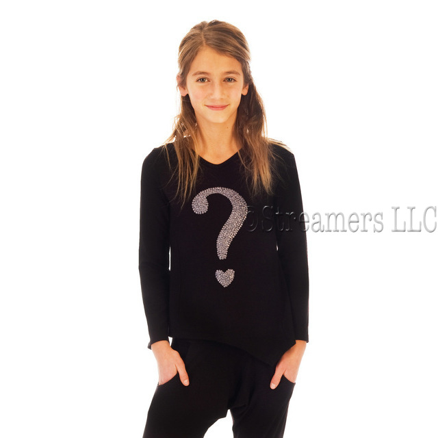 Cute tween top in black with a silver sequin-look question mark transfer in soft cotton!  Princess seams give shape, black front, black and white striped back. Available in size 7/8, 10/12, 14 by Limeapple