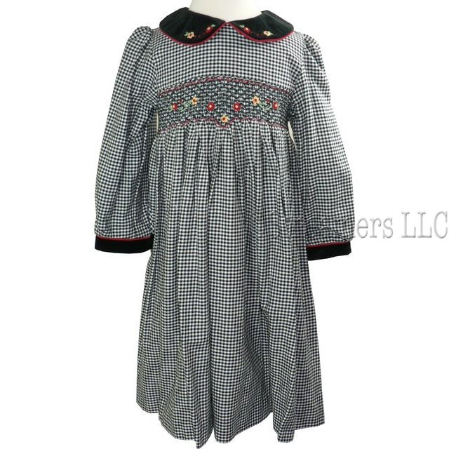 Girls Dresses by Rare Editions - Sweet Girls Plaid Dress with Smocking and Flower Appliques.  Velvet Collar has Red Cord Trim and Flower Appliques.  Velvet Trim on Cuffs.  Buttons and Ties at Back. Great Back to School Dress! Available in Sizes 4, 5, 6 and 6X