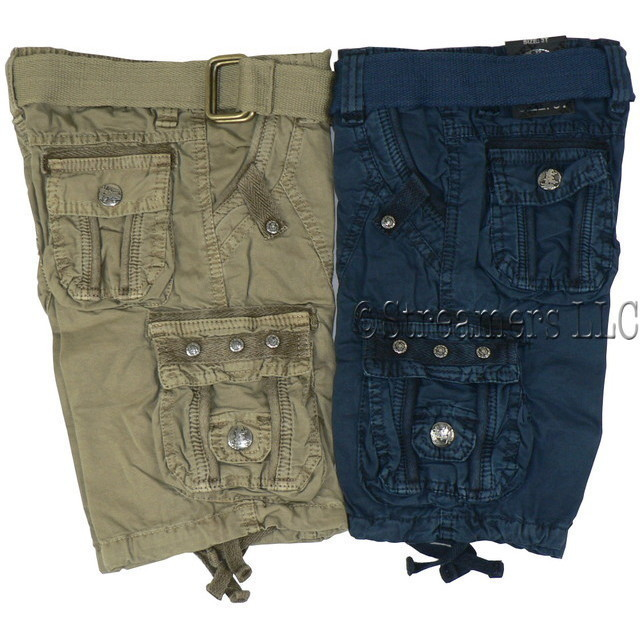 Toddler Boys Cargo Shorts with Adjustable Waist, Cotton Belt and Tons of Pockets!  Available in Sizes 2T, 3T and 4T (See Larger Sizes in 4-7) in Khaki and Blue by Rebel Jeans