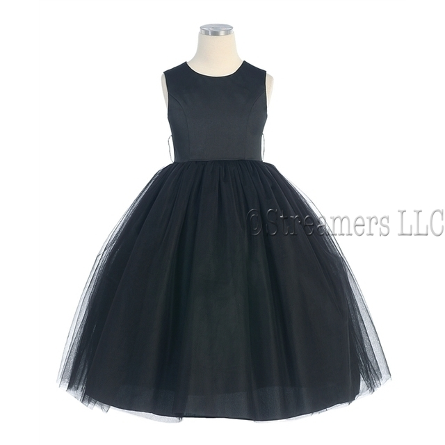 Beautiful Black Satin Tulle Dress in sizes 10 and 12.  Great for weddings, pageants or any special occasion!  by Sweet Kids (colored sashes sold separately).