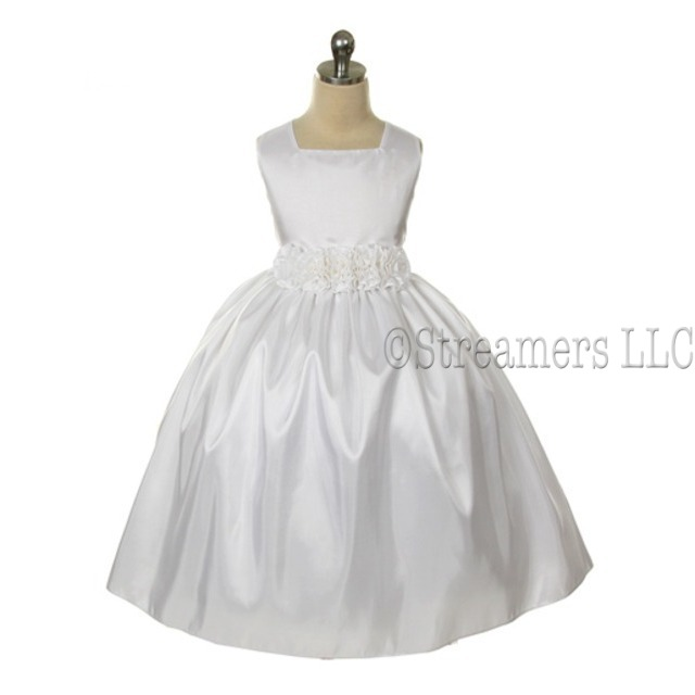 Beautiful Flower Girl or Special Occasion Dress in White with Hand-rolled Flower Cumber-band that Ties at Back, Zip Closure, Lined and Crinoline Slip add Fullness.  Great as a Flower Girl or First Communion Dress!  by Sweet Kids. Available in Sizes 4, 5, and 6 (More sizes in Girls 7+).  View Size Chart for Sizing.
