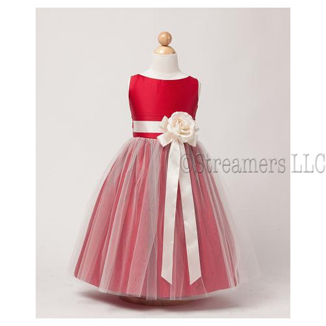 This Adorable Vintage Satin Tulle Dress has a Cream Ribbon and Flower, Delicate Tulle Overlay and Satin Sash that Ties in Back. Great for weddings, holidays or any special occasion!  Available in size 7 (see also in Toddler in Royal
