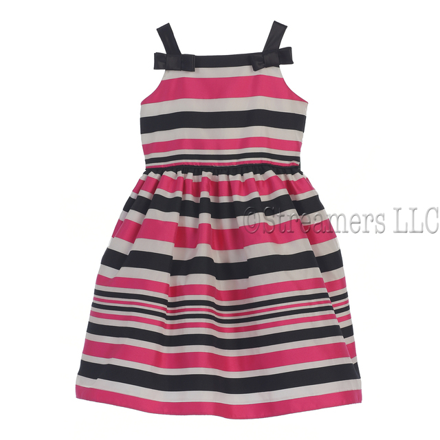 Sweet striped organza dress with bows at straps and zips and ties in back. Great colors; great party dress or any special occasion!  Available in sizes 2T, 3T and 4T. (see also sizes 5, 6) by Sweet Kids (pair with Bonnie Jean faux fur bolero W26028)