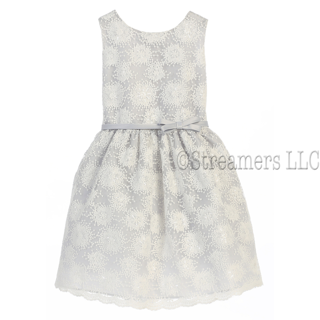 Beautiful tween girl flower embroidered mesh overlay dress with flowers and white sequins, a grey underskirt and silver bow/belt that ties in back.  Available in sizes 8, 10, 12.  Stunning! Great for the holidays, parties and weddings!  by Sweet Kids