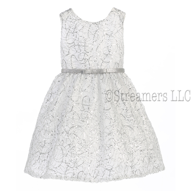 Beautiful metallic cord embroidered dress in white and silver with belt.  Available in Sizes 4, 5, 6.  Made in USA by Sweet Kids