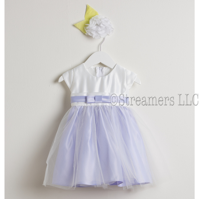 This sweet baby girl dress has a satin bodice with a sash and bow that ties in the back, along with a flowing tulle skirt in a wonderful lilac color. Great for Weddings or any Special Occasion!  Available in sizes S (6/9 mos), M (12 mos), L (18 mos) and XL (24 mos).  See a coordinating Lilac dress in Toddler and 6-10 by Sweet Kids