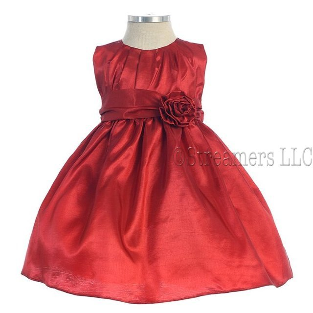 Toddler Girl Fancy Dresses, Beautiful Pleated Solid Taffeta Dress with Hand Rolled Flower and Sash that Ties in Back.  Great for the Holidays, Parties and Weddings!  by Sweet Kids.  Available in Sizes 2, 3 and 4 in Red and Navy.  *(See Sister Dresses in Infant,  4-7 and 8-12). View Sweet Kids Size Chart for Sizing