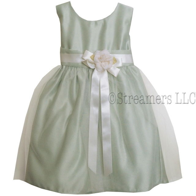 This Adorable Vintage Satin Tulle Dress has a Cream Ribbon   and Flower, Delicate Tulle Overlay and Satin Sash that Ties in Back.  So Sweet!  Available in Champagne and Sage Green in Sizes 6/9, 12, 18 and 24 Months by Sweet Kids