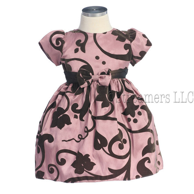 Baby Girl Holiday Dresses in Full Taffeta Flocked Dress  with Brown Velvet Swirls and Leaves. Bow in Front with Brown Sash that Ties in Back.  Zip Closure.  Matching Stretch Headband with Bow. by Sweet Kids.  Available in Iridescent Aqua and Rose in Sizes 6/9, 12, 18 and 24 months.