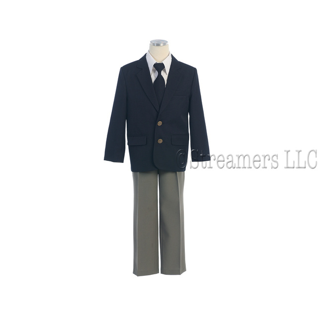 This is a great 4 piece Blazer Set consisting of a Navy Blazer with 2 gold crest button closure and 2 buttons on sleeves, white dress shirt, navy tie and either tan or grey pants with half elastic back, 2 front pockets and 1 button back pocket.  Classic preppy look!  Available in Grey or Tan in sizes 8, 10 (Toddler sizes available as well as boys 5, 6, 7) by Cole (Special Orders available at additional cost and delivery time)