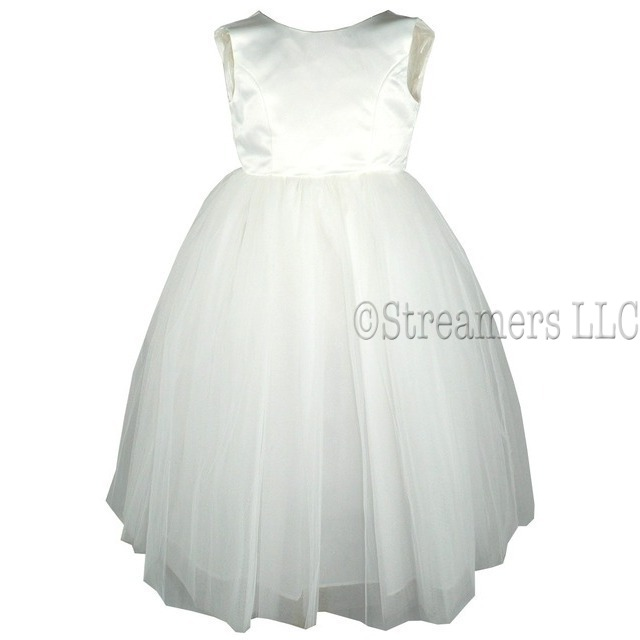 Beautiful Tea-Length Flower Girl Dress with Satin Bodice, Multi-Layer Tulle Skirt. Zip Closure, Couture Back with Covered Buttons for an Elegant Look.  She