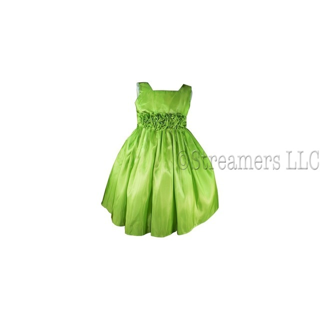 Beautiful Flower Girl Dresses in Deep Fuchsia and Celery Green with Hand-rolled Flower Cumber-band that Ties at Back, Zip Closure, Many Layers for Fullness.  Perfect for Weddings, Parties or any Special Occasion!  Available in Sizes 2, 3, and 4 by Sweet Kids, Made in the USA