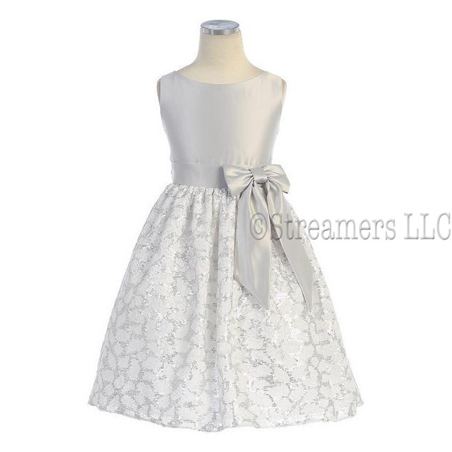 This is a Gorgeous Floral Lace Dress with Silver Sequins together with a Satin Bodice in Silver with a Bow at the Side and Ties in the Back.  Very Elegant!  Great for Weddings and Holidays!  Available in Sizes 3 and 4
