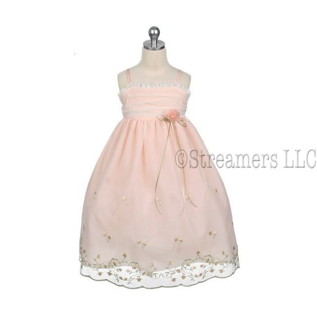 Beautiful Toddler Girl Embroidered & Beaded Mesh Special Occasion Dress with Pin on Flower.  Zip and Tie in Back.  Mesh Bodice Overlay, Beading along Vines and Ruffle Trim.  Available in Peach and Ivory in Sizes 2T, 3T and 4T. Perfect for Weddings, Parties or any Special Occasion!  by Sweet Kids