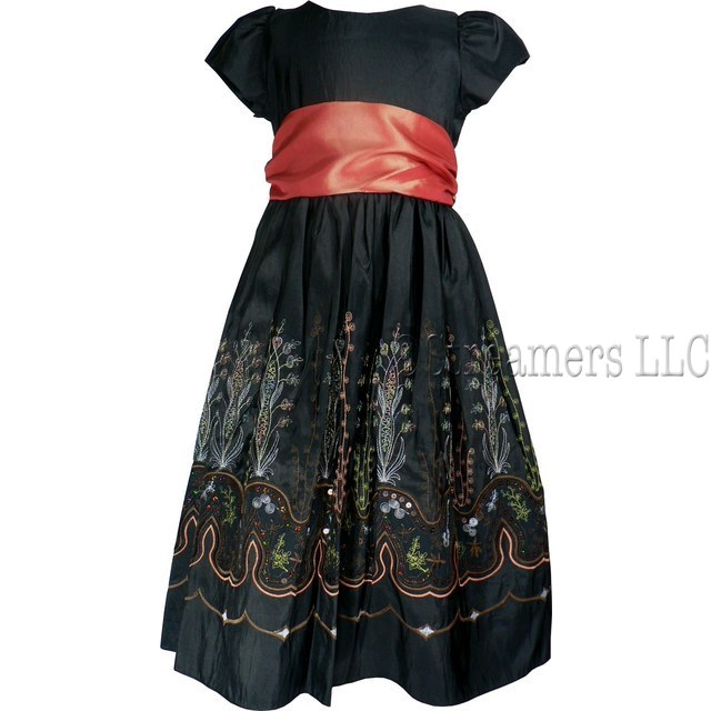 Girls Black Special Occasion Dress by Sweet Kids, Beautiful Girls Taffeta Dress with Heavily Embroidered Skirt with Sequins. Sash Ties at Back. Zip Closure.  Exquisite Detail!  Available in Size 6