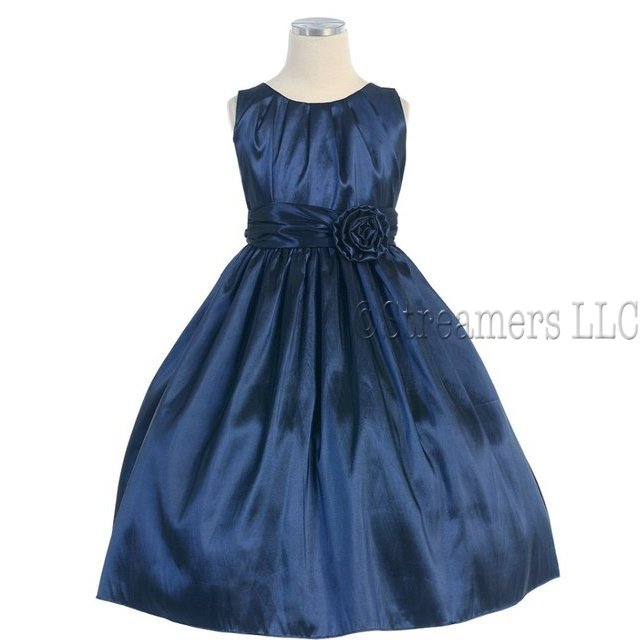 Tween Girl Dresses, Beautiful Pleated Solid Taffeta Dress with Hand Rolled Flower and Sash that Ties in Back.  Great for the Holidays, Parties and Weddings!  by Sweet Kids.  Available in Sizes 8, 10 and 12 in Navy, Red and Silver. *See Sister Dresses in Infant, Toddler and 4-7. View Sweet Kids Size Chart for Sizing