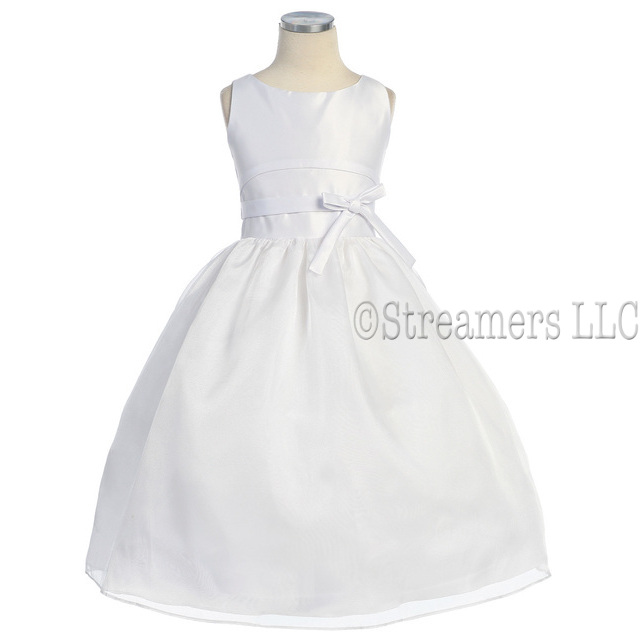 Formal Dresses and Formal Wear by Sweet Kids, Beautiful Girls Flower Girl Dress Size 7-10 in White Organza -  Sleeveless Special Occasion Dress with Satin Bow Trim and Zip Back.  Crinoline Slip for Fullness. Timeless Look.  Great for a Wedding or First Communion! Available in Sizes 7, 8 and 10