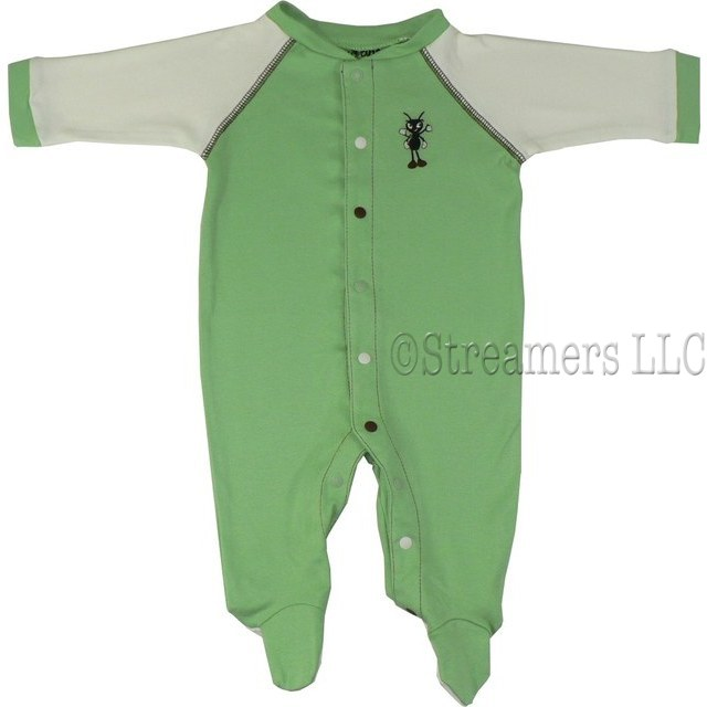 Cute footed baby coverall with color coded snaps to avoid mis matching