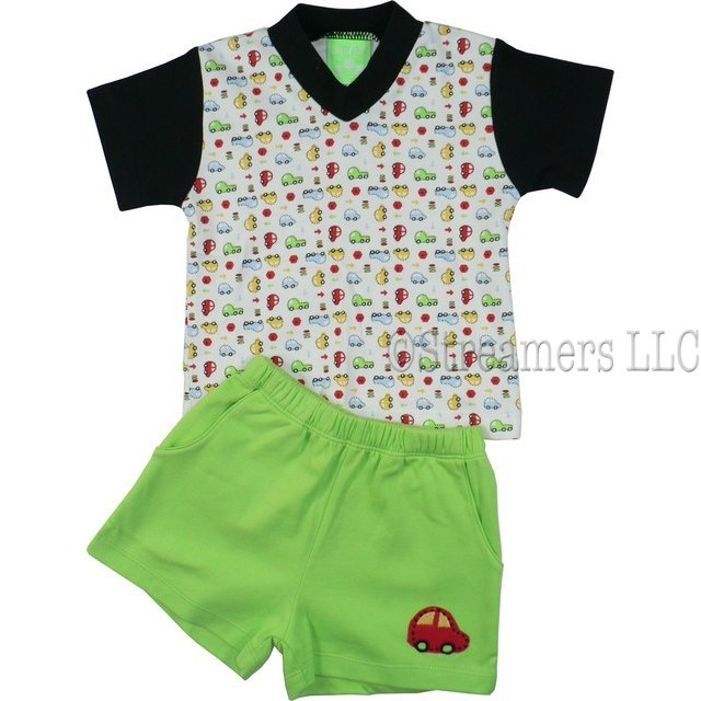 Infant Boy Short Sets by SnoPea - Cute Infant Boy Short Set in 100% Cotton with White V-Neck Shirt with All-over Car Print, Black Trim and Sleeves, Pull-on Shorts with two Front Pockets, Elastic Waist and Car Applique.  Very Cute!  Available in Sizes 12, 18, and 24 Months