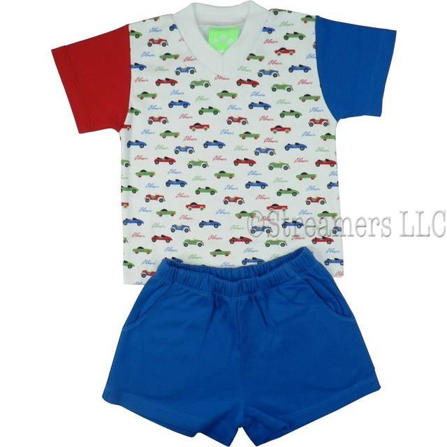 Infant Boy Short Sets in 100% Cotton by SnoPea - Colorful Infant Boy Short Set with V-Neck Tee in Classic Car Print with one Red and one Blue Sleeve, Matching Blue Pull-On Shorts with Elastic Waist and Front Pockets.  Cars are Cool!  Available in Sizes 12, 18 and 24 Months.