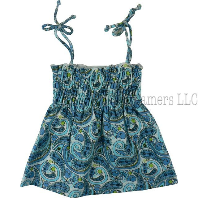 Infant Girl Clothes by SnoPea - Cute Infant Girl Sundress in Blue Paisley Print with Elastic Shirred Bodice and Adjustable Spaghetti Straps. Just Like the Big Girls!  Available in Sizes 12, 18 and 24 Months.