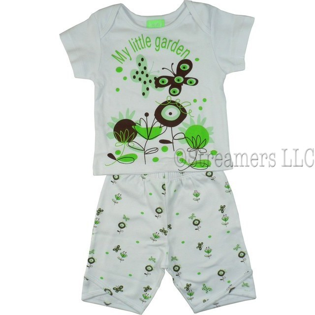 Infant Girl Clothing by SnoPea - Adorable Infant Girl Short Set in 100% Cotton with White Shoulder Lap Tee with Mint and Brown Garden Print and Pull-On Garden Print Shorts. So Cute!  Available in Sizes 12, 18 and 24 Months
