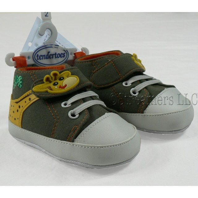 Newborn Boy Shoes - Adorable Baby Boy Cotton Sneaker with Giraffe  Velcro Fasteners and Applique, Faux Laces and Non-Skid Soles in Army Green with Orange Lining. Available in 0/3 Months (Size 1), 3/6 Months (Size 2), 6/9 Months (Size 3) and 12 Months (Size 4)