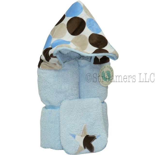 Hooded Towels, a Two-Piece Generously Sized (30x52) 100% Cotton Hooded Towel with Minky Polka Dot Printed Hood on Blue Towel with Matching Washcloth.  For Infant through Age 5.  He