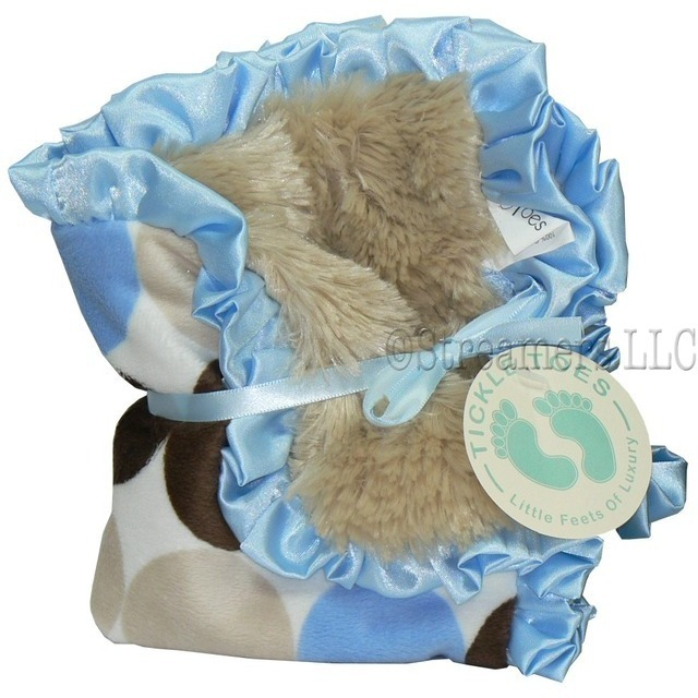 "Baby Boy Shower Gifts, Security Blankets, a Fun and Super Soft Security Blanket (13 1/2 inches) with Blue, Brown, Beige Minky on One Side and Soft Minky ""Fur"" on the Other.  Trimmed in Satin Ruffle.  Great Size to Carry Along!  by Tickle Toes"
