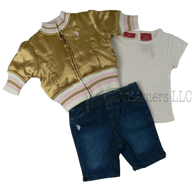 Cutest U S Polo Infant Girl Capri Set with Shimmery Gold Varsity Jacket with Knit Pink Striped Neck, Cuffs and Hem, Pink Striped Short Sleeved Shirt and Adorable Pull-On Denim Capris with Rhinestone Studded Pockets.  So Sweet!  Available in Sizes 12, 18 and 24 Months