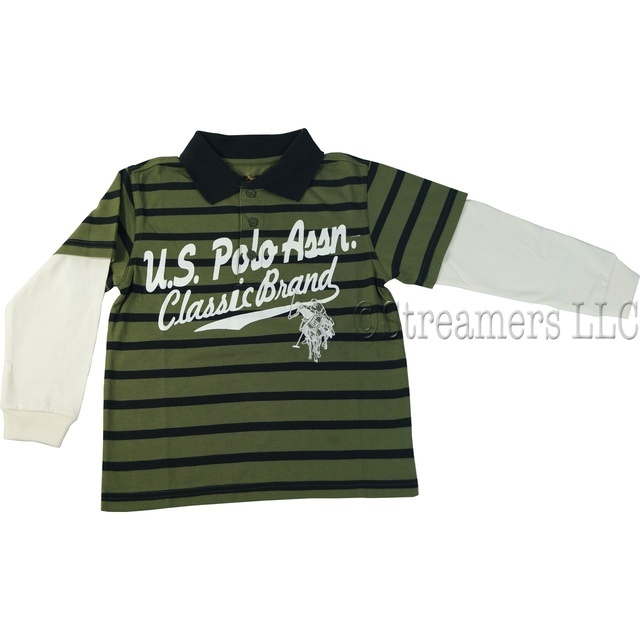 Great polo in olive/black stripe with cream long sleeves and extensive embroidered polo players. Available in sizes 4, 5/6, 7 and 7X by U.S. Polo Assn.