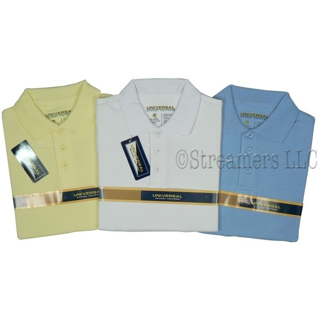 Universal School Uniforms for Boys Sizes 4-14, Boys School Uniform Short Sleeved Polo Shirt with Ribbed Collar and Sleeve Trim, Three-Button Closure, Side Vents.  Available in Light Blue, Yellow and White in Sizes 4, 5, 6, 7, 8, 10, 12 and 14