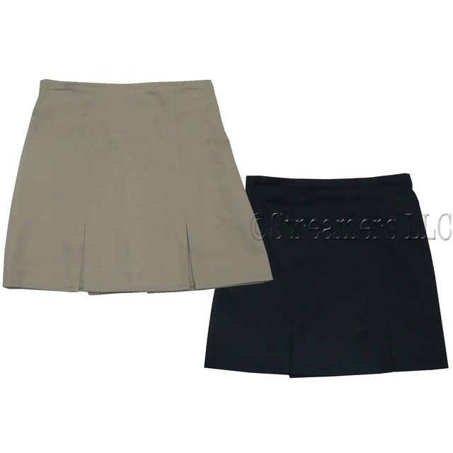Girls School Uniform Wear by Universal Uniform, Girls Pleated Skooter Skirt (looks like shorts in back) with Elastic Back in Khaki and Navy in Sizes 4, 5, 6, 6X,