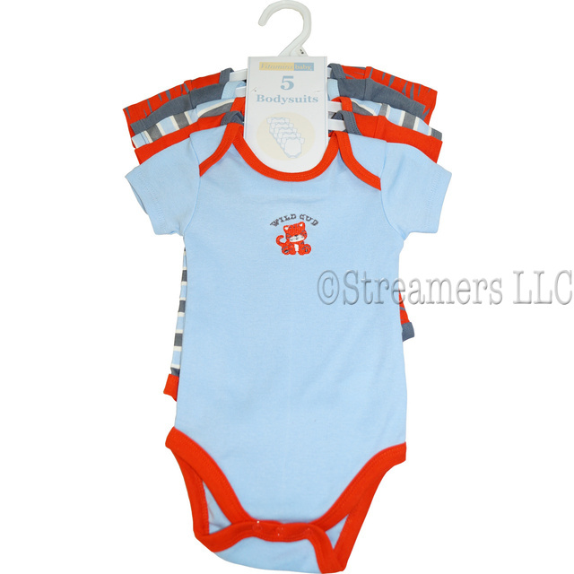 This is a 5 pack of boy onesies in shades of blue, grey and orange with one embroidered, two patterned and two of solid colors.  Wild cub theme.  Available in sizes 3, 6 and 9 months by Vitamins