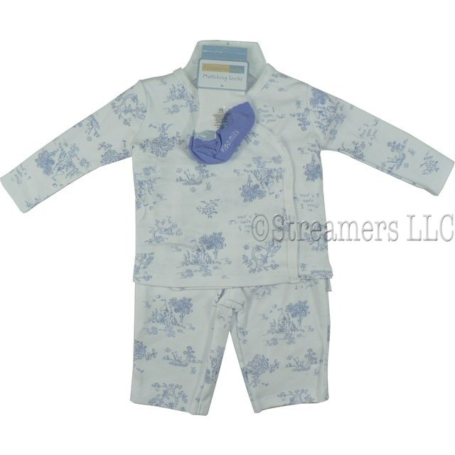 Adorable 3 Piece Baby Girl Layette Set in a Storybook Pattern, Once Upon a Time. Lilac on White Kimono Shirt, Pull-on Pants and a Pair of Socks. So Delicate! by Vitamin Baby  Available in Sizes NB, 3, 6, and 9 Months