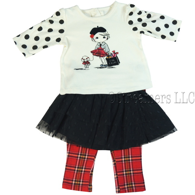 This great 3 piece set has an adorable top with a velvet textured screen print top with shirred polka sleeves, lacy tiered black skirt with elastic waist and cute pull-on tartan plaid leggings.  Tres cute!  Available in Sizes 12, 18 and 24 months by Vitamins Baby