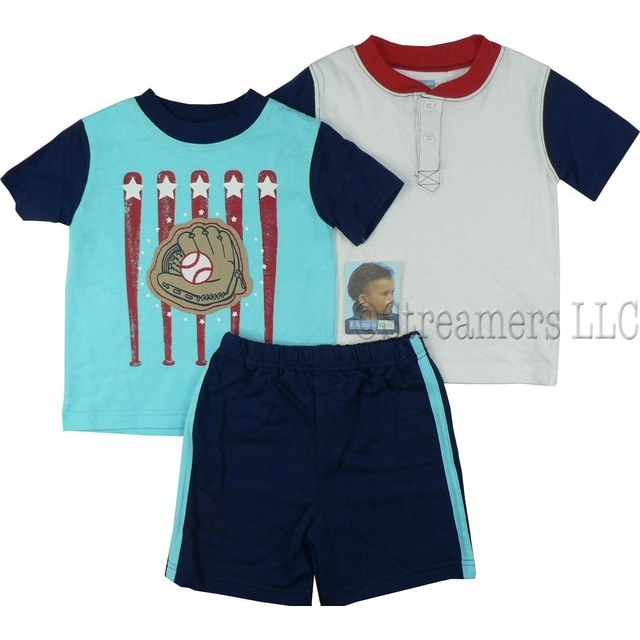 3 piece Infant Boy Short Set with Baseball Theme with One T-Shirt with Baseball Screen and Glove and Ball Applique, One Tee in White with Red Neckline and Navy Sleeves and a Pair of Pull-on Navy Blue Shorts with Turquoise Stripes Down Sides by Vitamins Kids. Available in Sizes 12, 18 and 24 Months (see larger sizes in Toddler Boy)