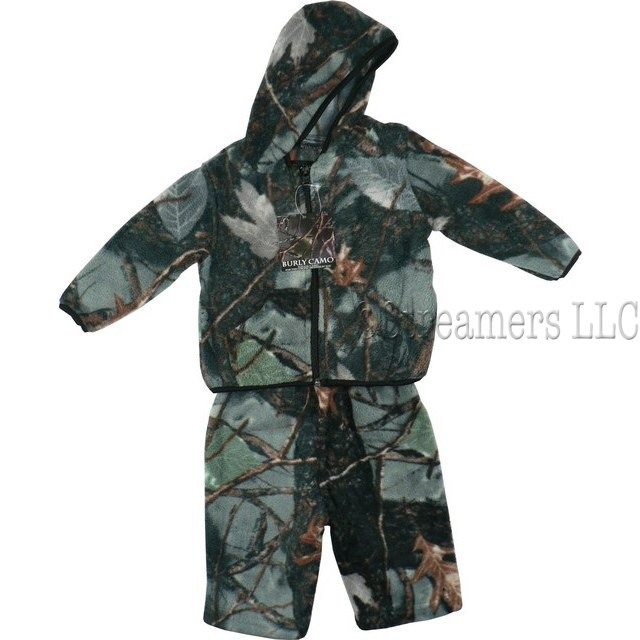 Baby and Infant Boys Clothes - Cute Baby Boy Fleece Camouflage Jacket Set in Forest Pattern with Zip Hooded Jacket with Kangaroo Pocket and Pull-on Pants.  Warm & Cozy!  by World Famous Sports.  Available in Sizes 3-6, 6-12 and 12-18 Months.  Search Camo to find more items!