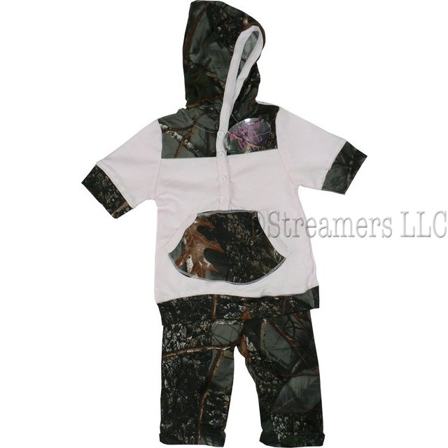 This Cute Toddler Girl Camouflage Legging Set in Forest Pattern has a Pink Top with Camo Hood and Kangaroo Pocket and Matching Camo Leggings.  So Cute!  Available in Sizes 2T, 3T and 4T  by World Famous Sports.  Search Camo to see more items!