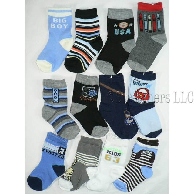 Cute 12 Pack of Baby Boy Crew Socks in Various Patterns and Colors. Available in Size 3/6 Months (Medium) and 6/9 (Large)