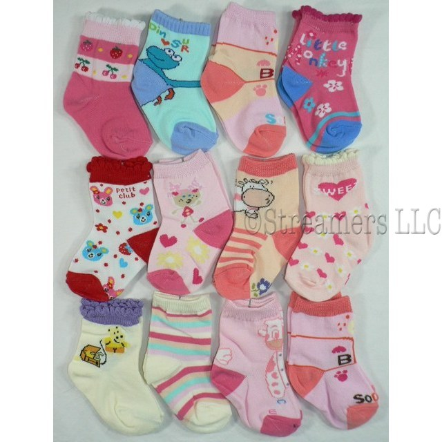 12 Pack Baby Girl Socks in Various Colors and Patterns to Flatter any Wardrobe!  Crew Socks Available in Sizes 3/6 (Medium), 6/9 (Large) and 9/12 Months (Extra Large).  *Note Detail Pic is of XL