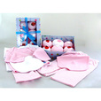 Baby Girl Gift Sets, Six piece set of baby clothing cupcakes from BabyBlooms are actually cleverly disguised play sets and bibs for girls. The ribbon-tied presentation box contains two pairs of pink and white candy striped...