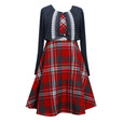detail photo for Tween Girl Plaid Dress with Shrug